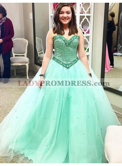 Crystal Detailing Ball Gown Tulle Prom Dresses