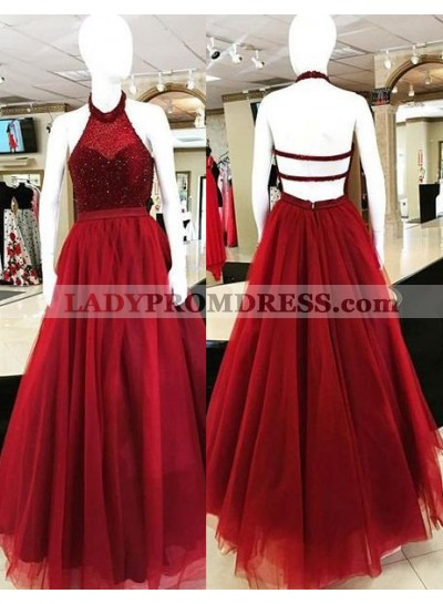 2019 Gorgeous Red Halter Backless Beading Ball Gown Tulle Prom Dresses