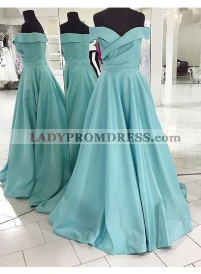 LadyPromDress 2018 Blue Off-the-Shoulder Sweep Train A-Line/Princess Satin Prom Dresses