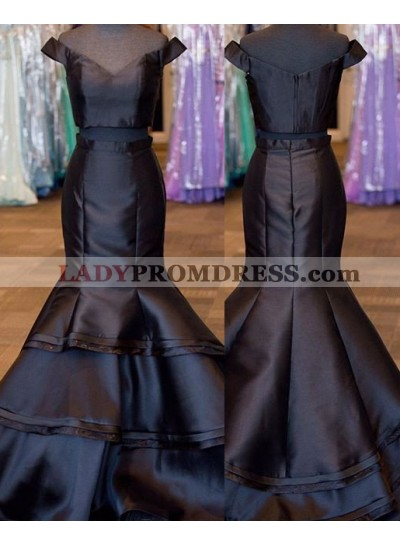 2019 Junoesque Black Layers Off-the-Shoulder Satin Two Pieces Prom Dresses