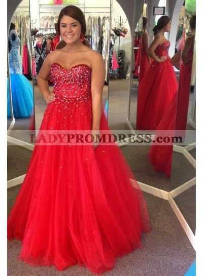 2020 Gorgeous Red Prom Dresses Sweetheart Beading Ball Gown Tulle