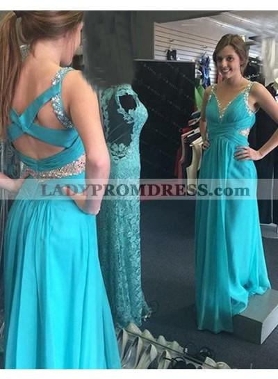 LadyPromDress 2018 Blue Crystal Detailing Straps Column/Sheath Chiffon Prom Dresses