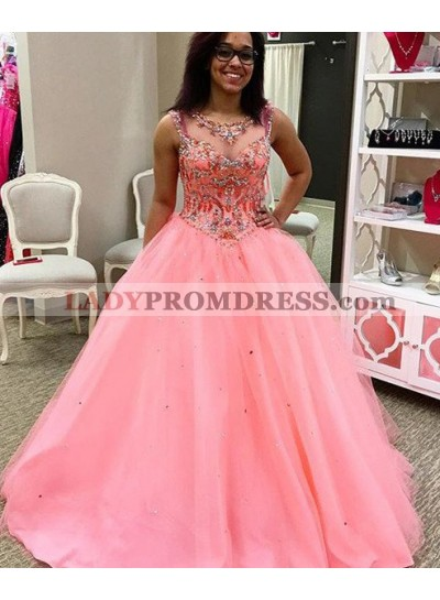 Beading Sheer Neckline Ball Gown Tulle Prom Dresses