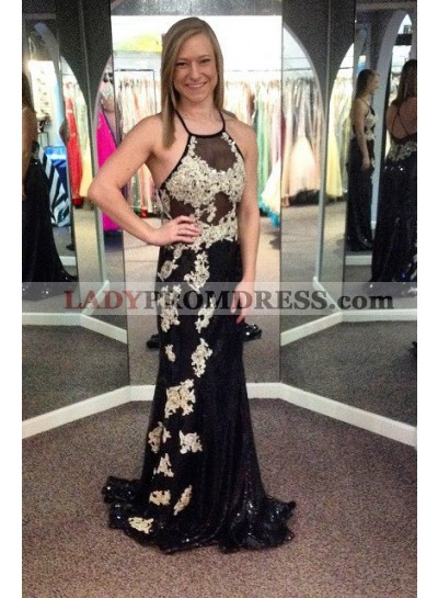 2019 Junoesque Black Appliques Halter Column/Sheath Prom Dresses