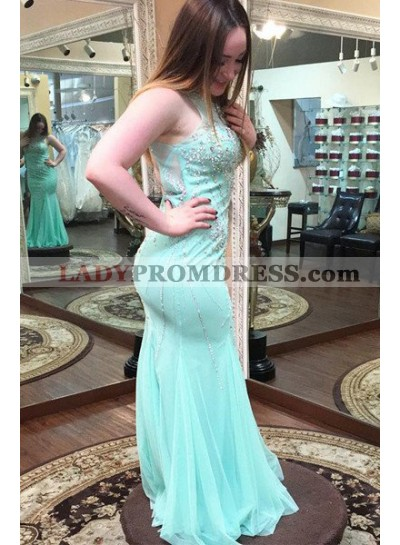 Round Neck Backless Crystal Mermaid/Trumpet Tulle Prom Dresses