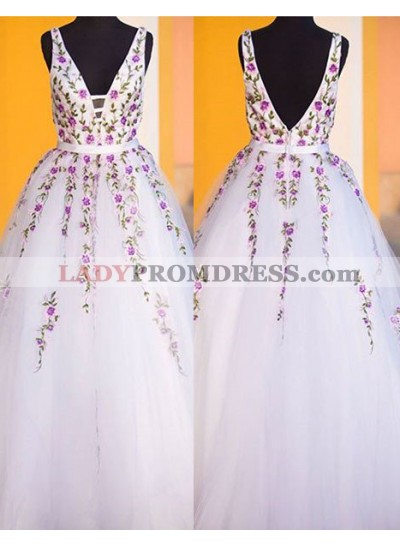 Embroidery Backless A-Line/Princess Tulle 2019 Unique White Prom Dresses