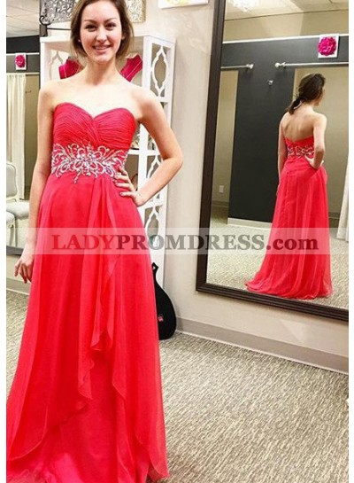 2019 Gorgeous Red Prom Dresses Sweetheart Backless A-Line/Princess Chiffon