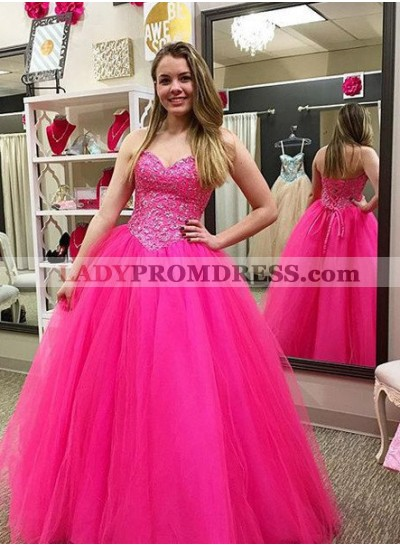 Beading Lace Up Ball Gown Tulle Prom Dresses