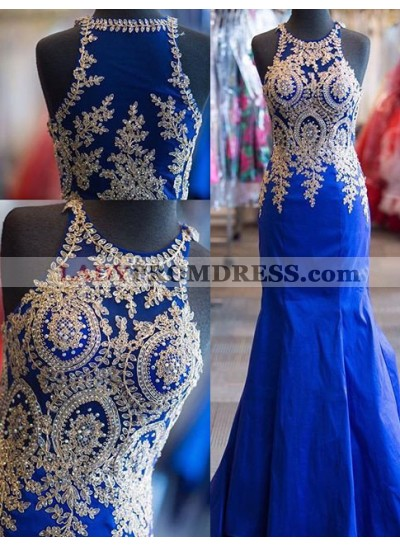 Appliques Mermaid/Trumpet Satin Prom Dresses Royal Blue