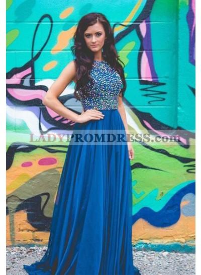 LadyPromDress 2019 Blue Beading A-Line/Princess Chiffon Prom Dresses