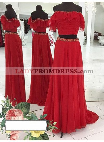 2018 Gorgeous Red Beading Off-the-Shoulder Chiffon Two Pieces Prom Dresses