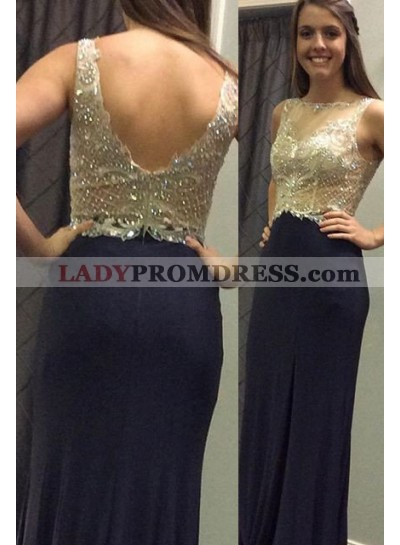 LadyPromDress 2019 Blue Beading Backless Column/Sheath Stretch Satin Prom Dresses