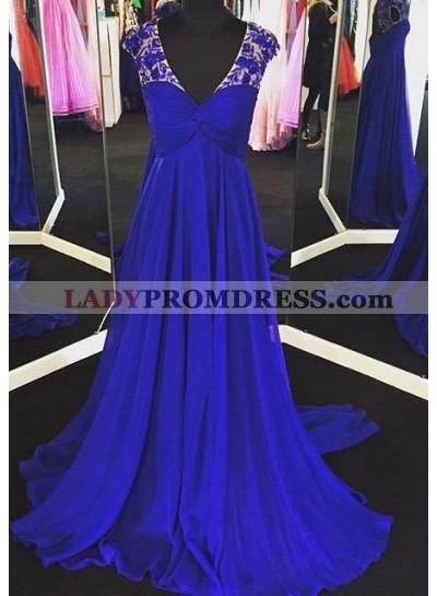 LadyPromDress 2018 Blue Appliques V-Neck Sweep Train A-Line/Princess Chiffon Prom Dresses