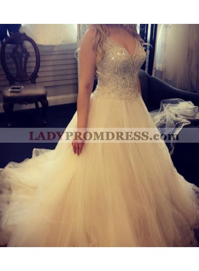 Champagne Prom Dresses Spaghetti Straps Sequins Ball Gown Organza