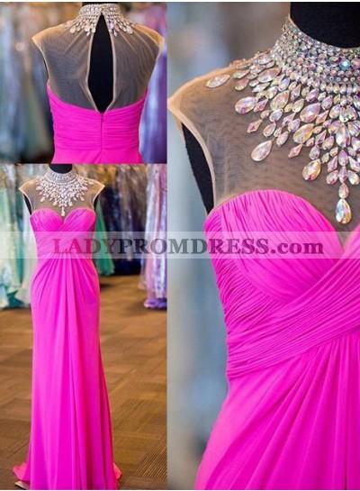Illusion Crystal Ruching Chiffon Prom Dresses