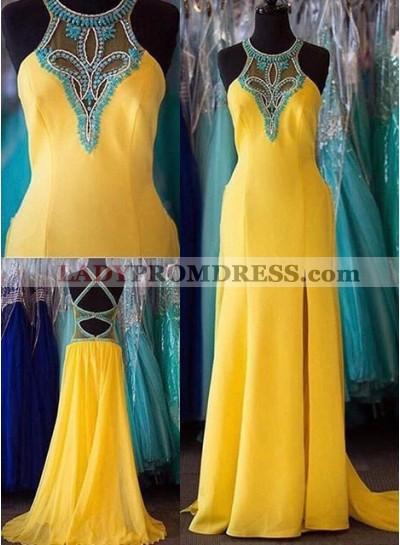 Beading Halter Satin Prom Dresses