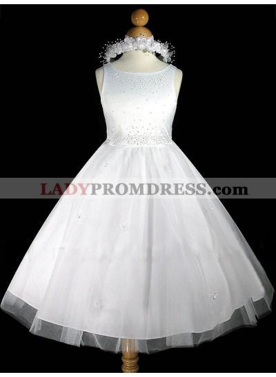 2020 Absorbing Sequins Applique Sleeveless  Scoop Neck Best Selling princess First Communion Dresses / Flower Girl Dress
