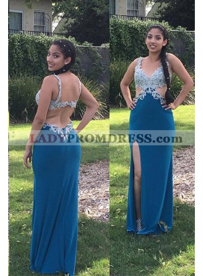 LadyPromDress 2019 Blue Appliques Split Front Stretch Satin Prom Dresses