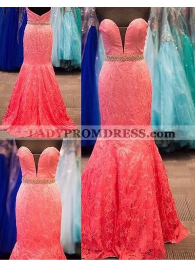 2018 Gorgeous Red Prom Dresses Sweetheart Beading Lace Mermaid/Trumpet
