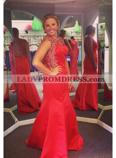 2019 Gorgeous Red Beading Round Neck Mermaid/Trumpet Satin Prom Dresses