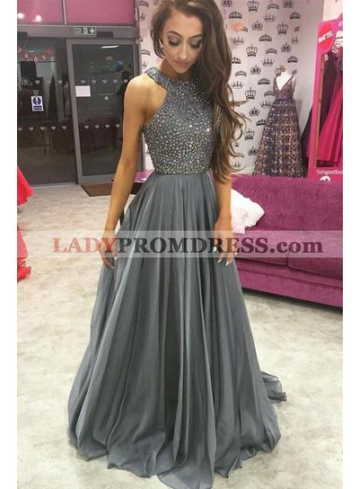 2021 Cheap Chiffon Princess/A-Line Beaded Silver Prom Dresses