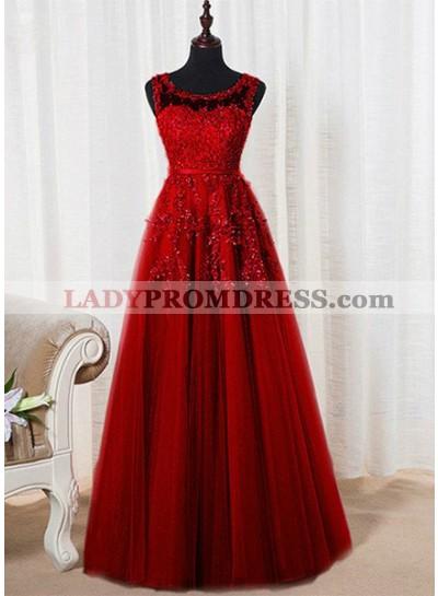 2018 Gorgeous Red Bateau Neck Appliques Beading A-Line/Princess Tulle Prom Dresses