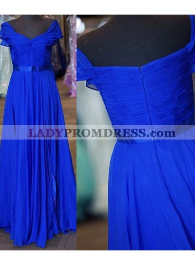 LadyPromDress 2018 Blue Ruching Short Sleeves A-Line/Princess Chiffon Prom Dresses