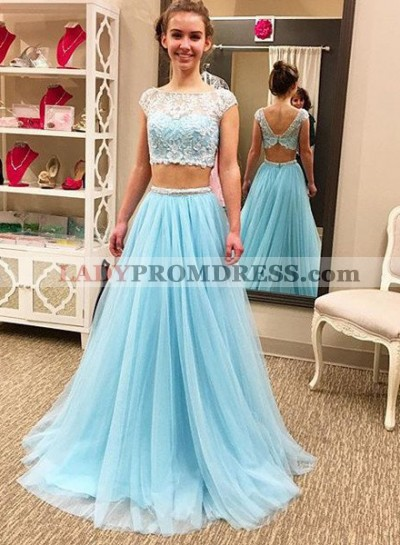 Light Sky Blue Lace Spliced A-Line/Princess Two Pieces Chiffon Prom Dresses