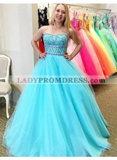 LadyPromDress 2020 Blue Prom Dresses Strapless Beading A-Line/Princess Tulle