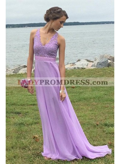 V-Neck Sleeveless A-Line/Princess Chiffon Prom Dresses