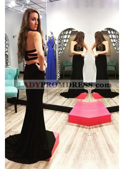 2019 Junoesque Black Bandage Halter Two Pieces Prom Dresses