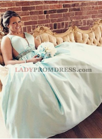 V Neck Crystal Backless A-Line/Princess Satin Prom Dresses