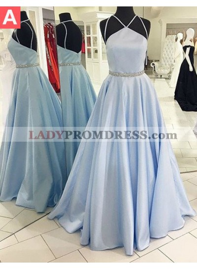 LadyPromDress 2019 Blue Halter Floor-Length/Long Backless A-Line/Princess Satin Prom Dresses