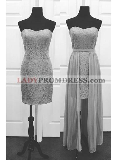 Elegant Sweetheart Column/Sheath Lace Silver Prom Dresses