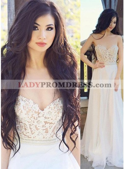2018 Unique White Prom Dresses Sweetheart Appliques A-Line/Princess Chiffon