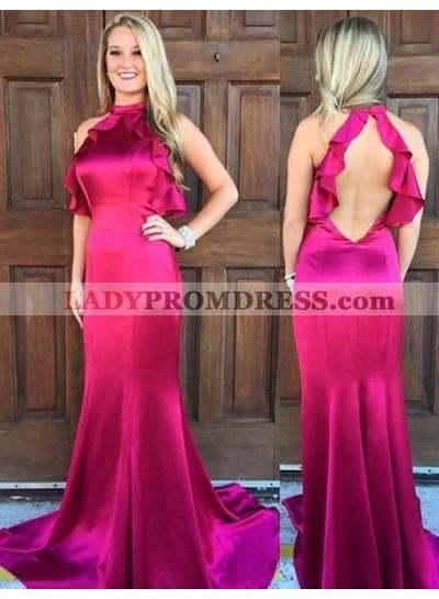 2018 Gorgeous Red Ruffles Halter Mermaid/Trumpet Satin Prom Dresses