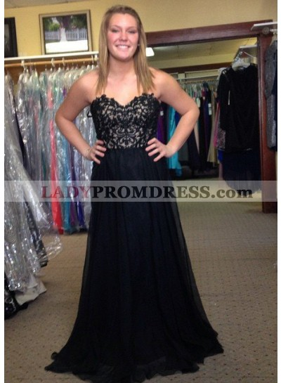 2018 Junoesque Black Sweetheart Lace A-Line/Princess Chiffon Prom Dresses