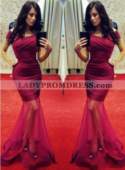 Ruching Off-the-Shoulder Mermaid/Trumpet Tulle Prom Dresses