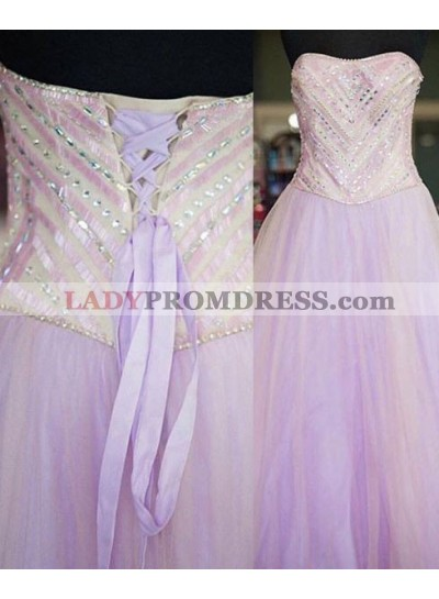 Crystal Lace up A-Line/Princess Ball Gown Prom Dresses