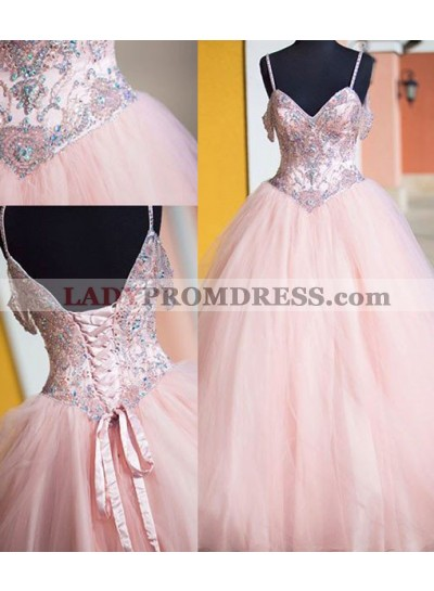 Crystal Lace Up Ball Gown Tulle 2018 Glamorous Pink Prom Dresses