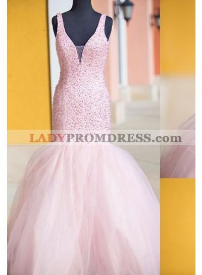 Beading Mermaid/Trumpet Tulle Prom Dresses