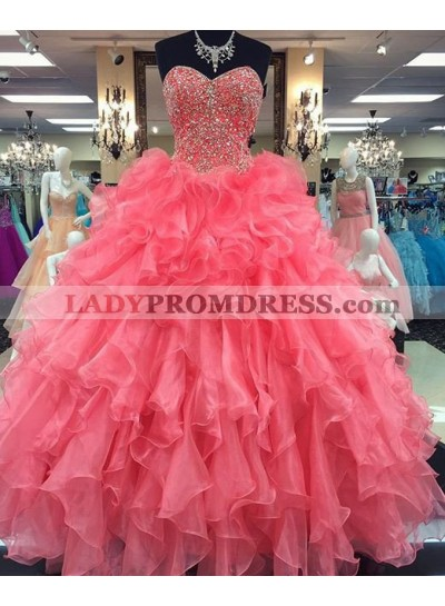2021 Glamorous Pink Sweetheart Beading Ball Gown Organza Prom Dresses