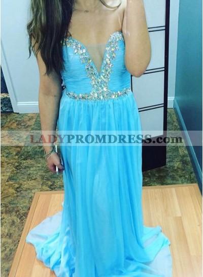 LadyPromDress 2018 Blue Crystal Detailing Column/Sheath Chiffon Prom Dresses
