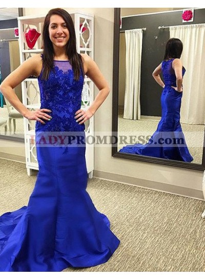 LadyPromDress 2019 Blue Appliques Bateau Mermaid/Trumpet Satin Prom Dresses