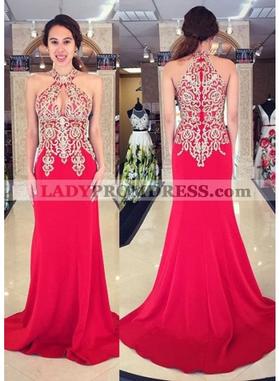 2018 Gorgeous Red Prom Dresses Sleeveless Appliques Sweep Train Mermaid/Trumpet