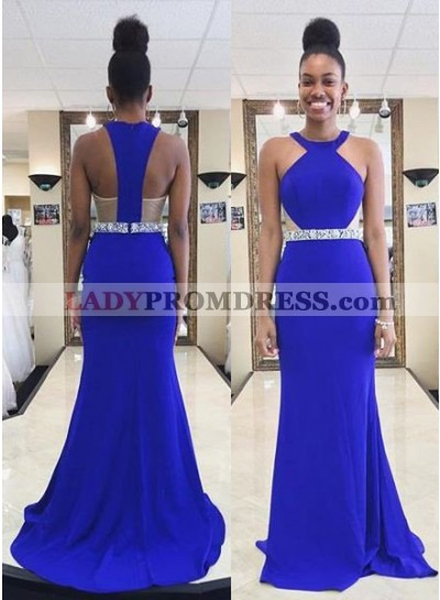 LadyPromDress 2019 Blue Beading Zipper Sweep Train Column/Sheath Prom Dresses
