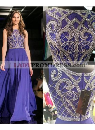 Bateau Beading A-Line/Princess Chiffon Prom Dresses Royal Blue