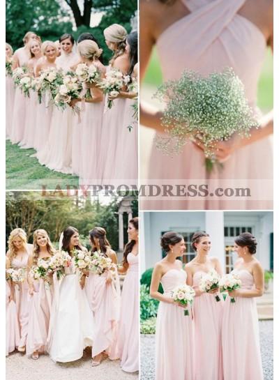 2019 Cheap A Line Blushing Pink Chiffon Long Bridesmaid Dresses / Gowns