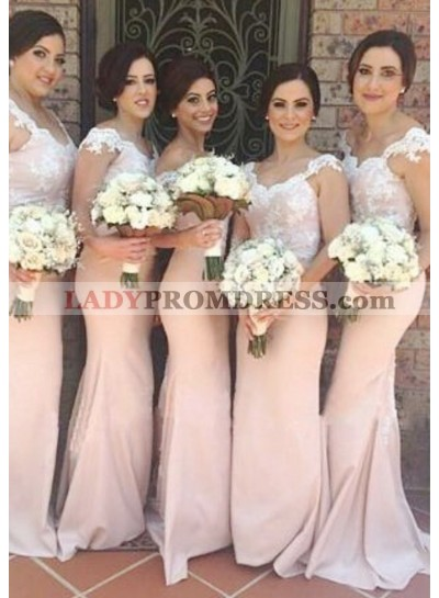 2021 Charming Mermaid Pearl Pink Off The Shoulder Satin Lace Long Bridesmaid Dresses / Gowns