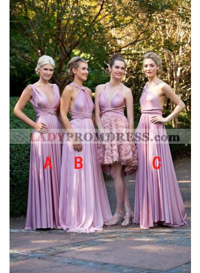 2021 Gorgeous A Line Pink Chiffon V Halter Long Bridesmaid Dresses / Gowns